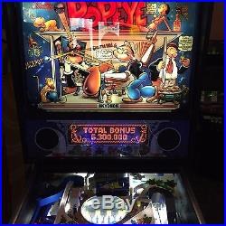Bally Popeye Saves The Earth Pinball Machine LED Lighting Excellent Condition